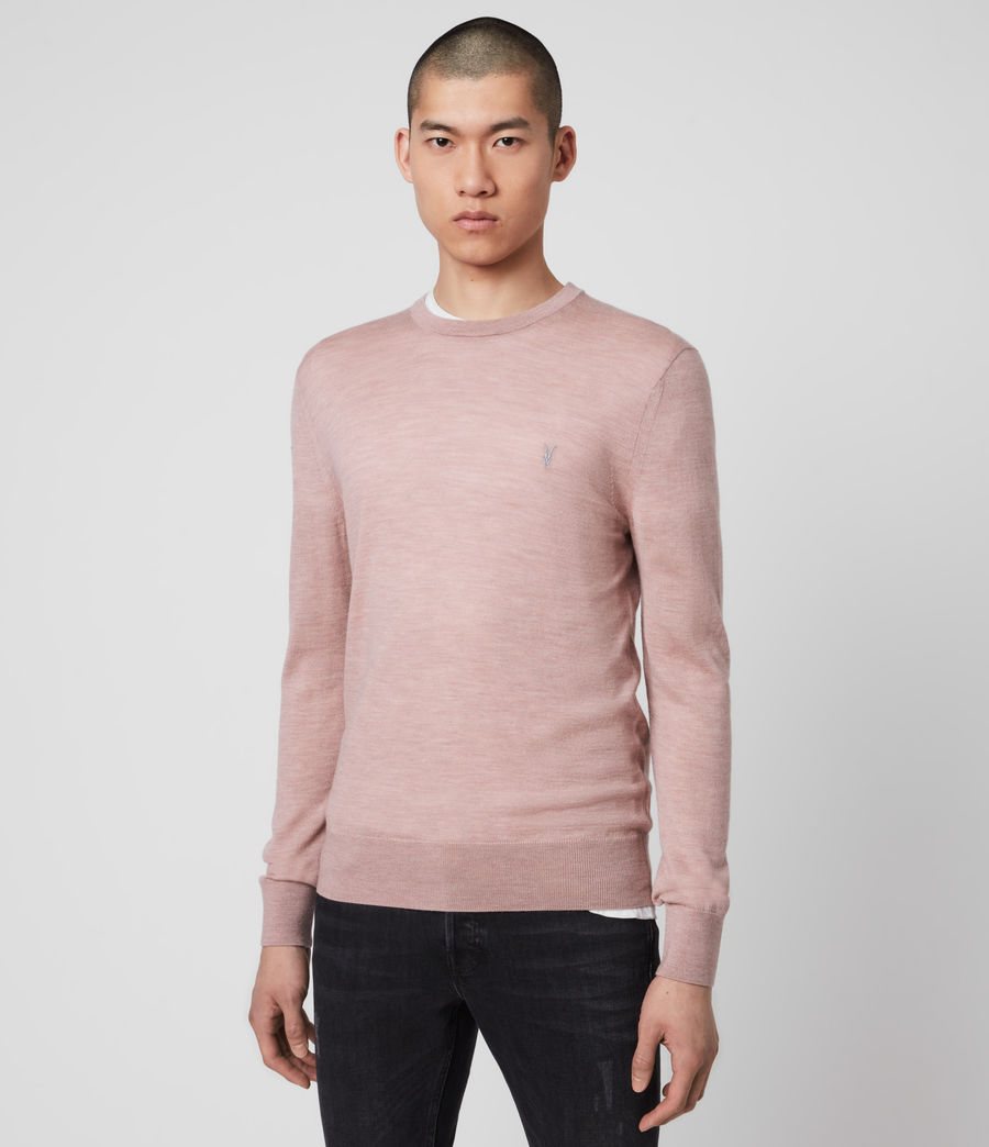 Mens Mode Merino Crew Sweater (sunset_pink_marl) - Image 4