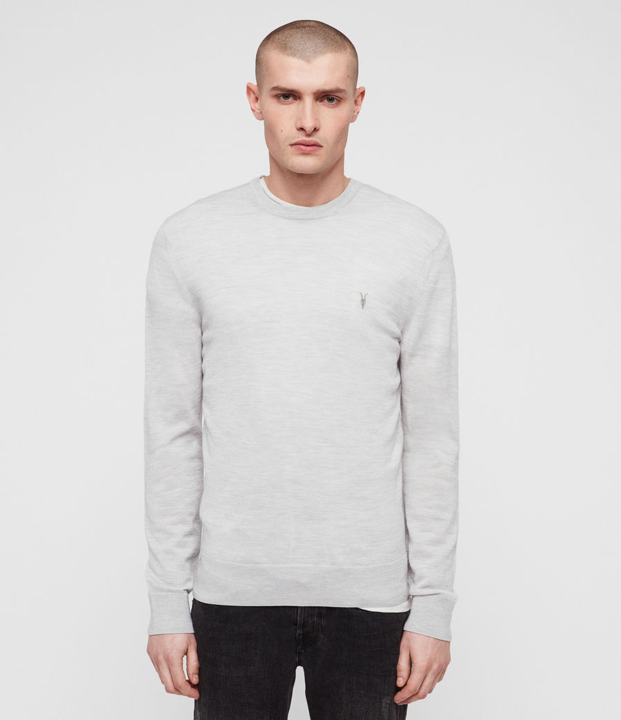 Mens Mode Merino Crew Sweater (light_grey_marl) - Image 1