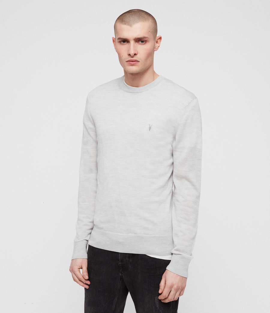 Mens Mode Merino Crew Sweater (light_grey_marl) - Image 4