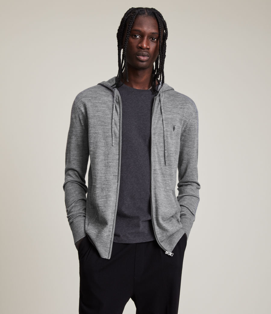 Mens Mode Merino Zip Hoodie (Grey Marl) - Image 1