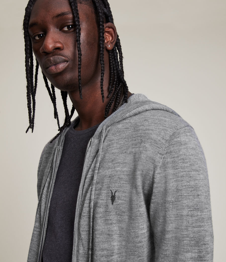 Mens Mode Merino Zip Hoodie (Grey Marl) - Image 2