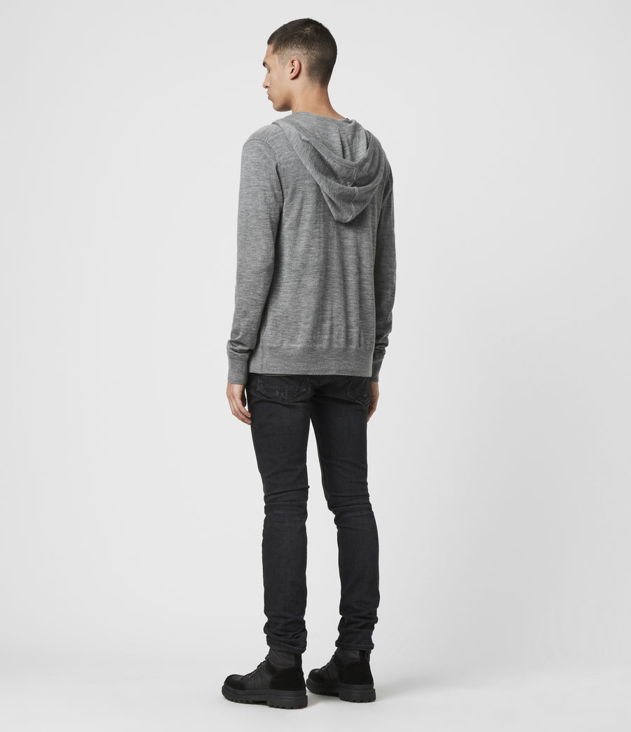Mens Mode Merino Zip Hoodie (Grey Marl) - Image 5