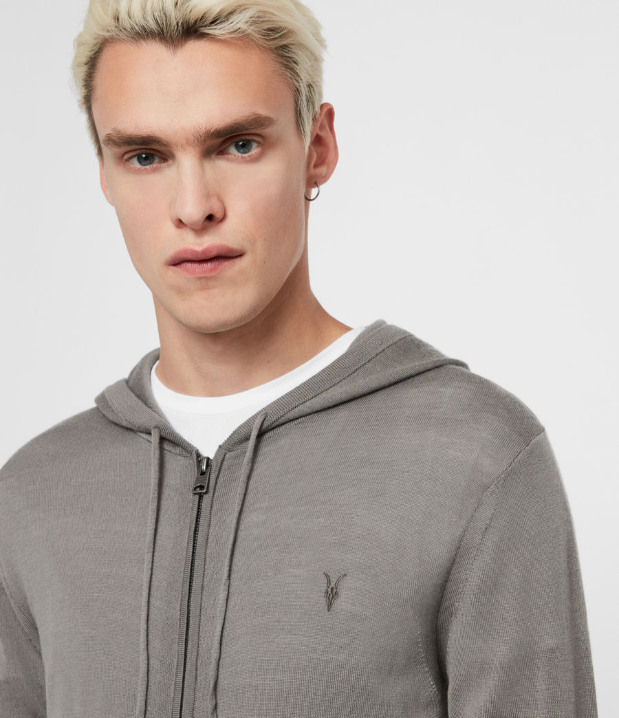 Mens Mode Merino Zip Hoodie (black) - Image 2