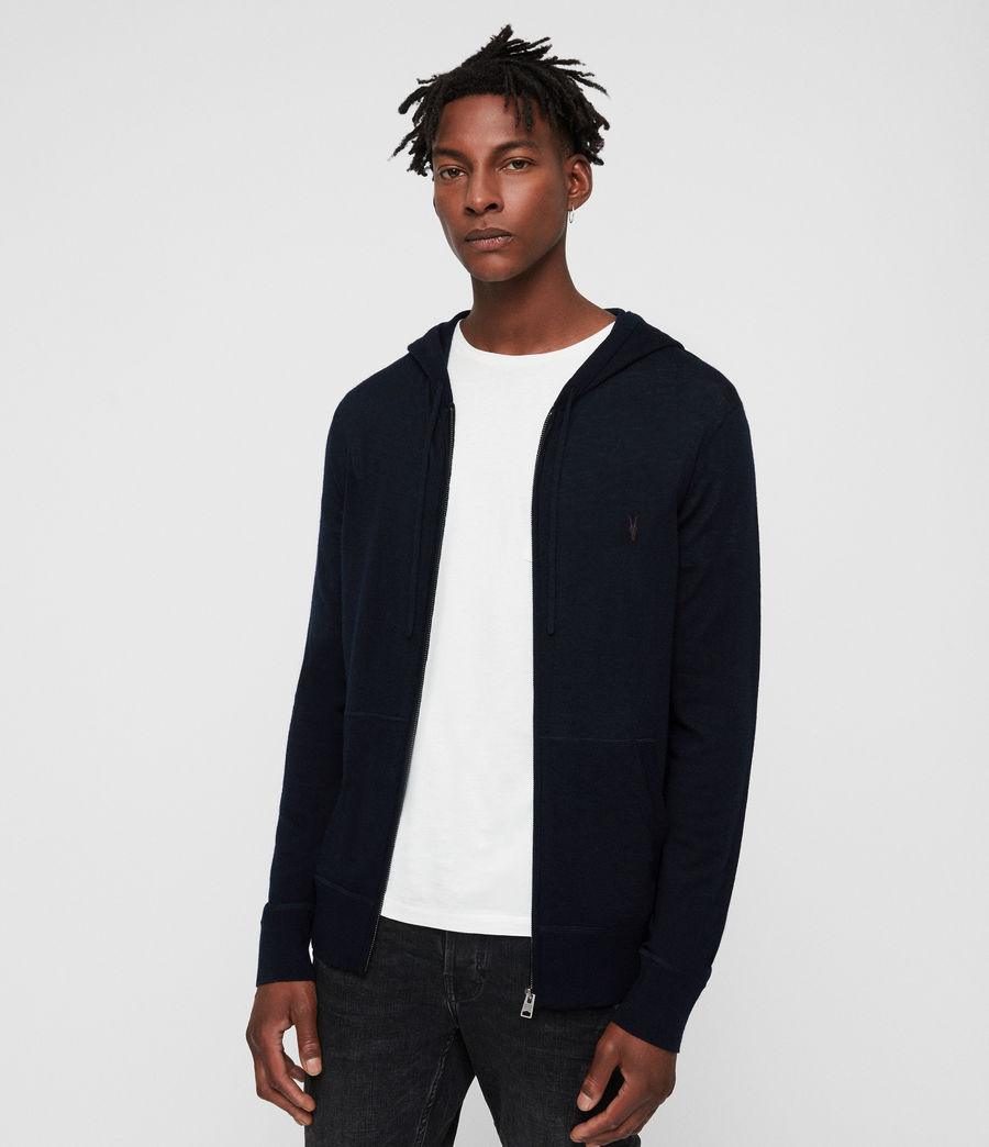 Mens Mode Merino Zip Hoodie (ink_navy) - Image 1