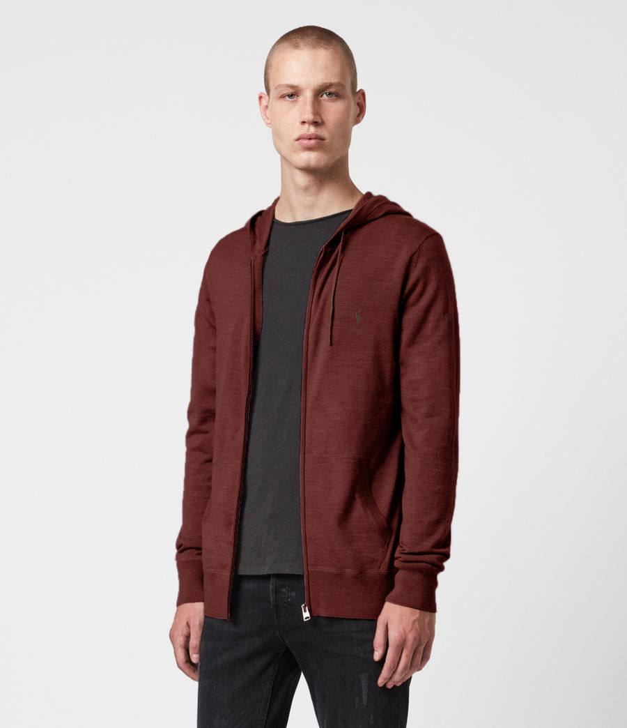Mens Mode Merino Zip Hoodie (burgundy_red) - Image 1