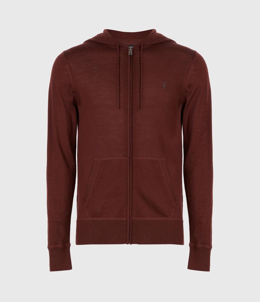 Mens Mode Merino Zip Hoodie (burgundy_red) - Image 2