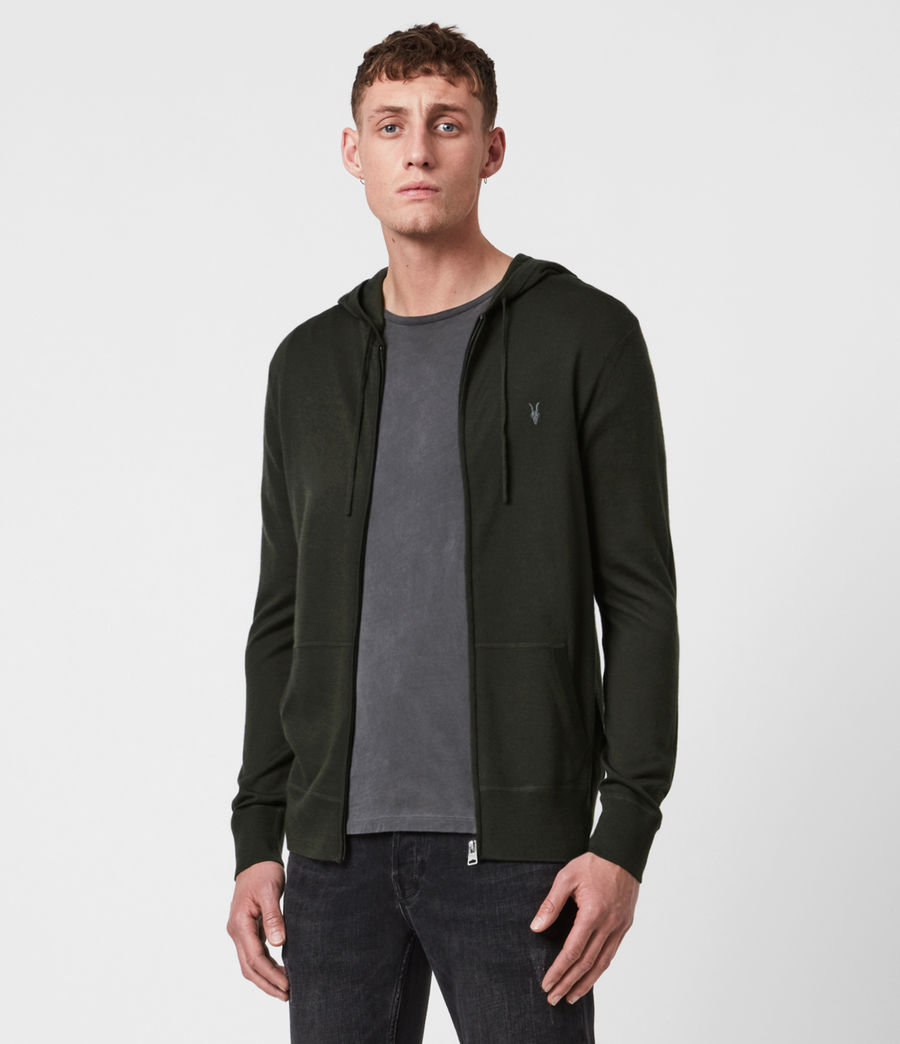 Mens Mode Merino Zip Hoodie (moss_green) - Image 1