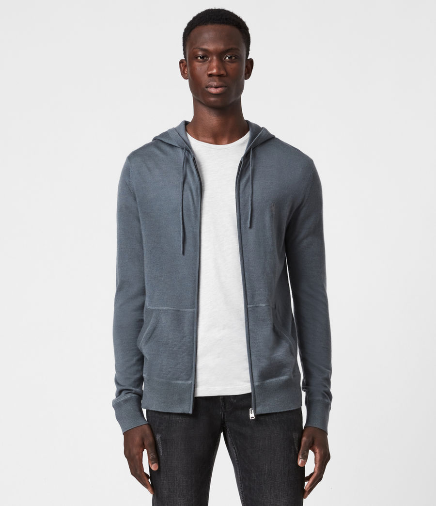 Mens Mode Merino Zip Hoodie (shadow_blue) - Image 1