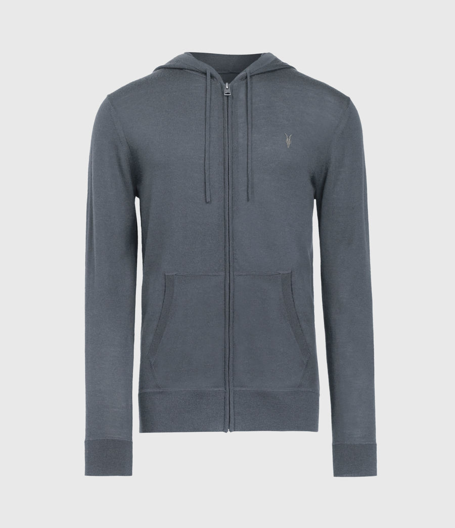 Mens Mode Merino Zip Hoodie (shadow_blue) - Image 2