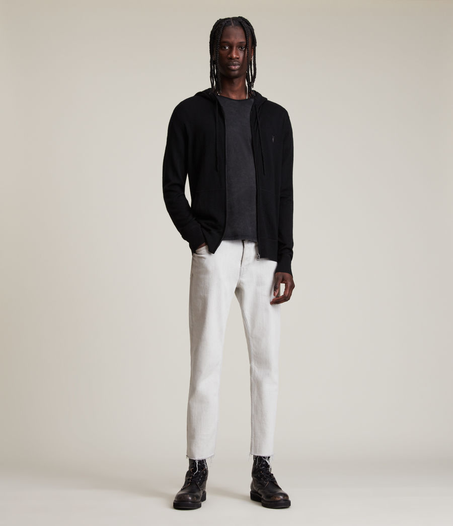 Mens Mode Merino Zip Hoodie (black) - Image 3