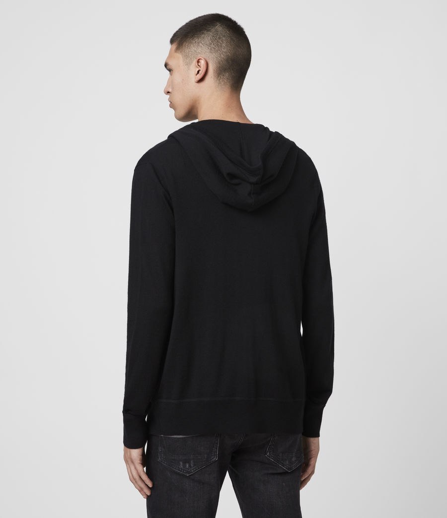 Hommes Sweat à Capuche Mode Merino (black) - Image 5