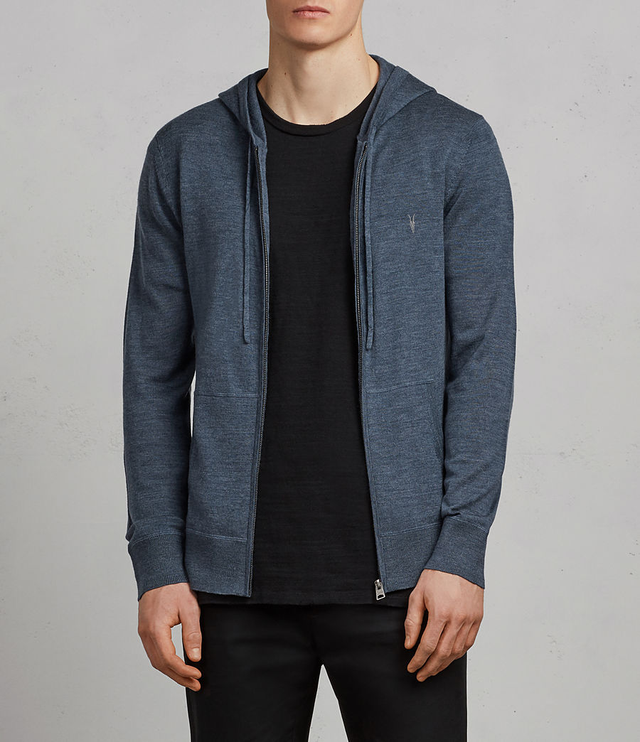 Mens Mode Merino Zip Hoodie (washed_navy_marl) - Image 1