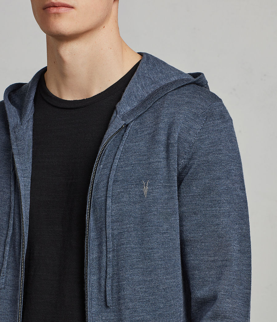 Mens Mode Merino Zip Hoodie (washed_navy_marl) - Image 2