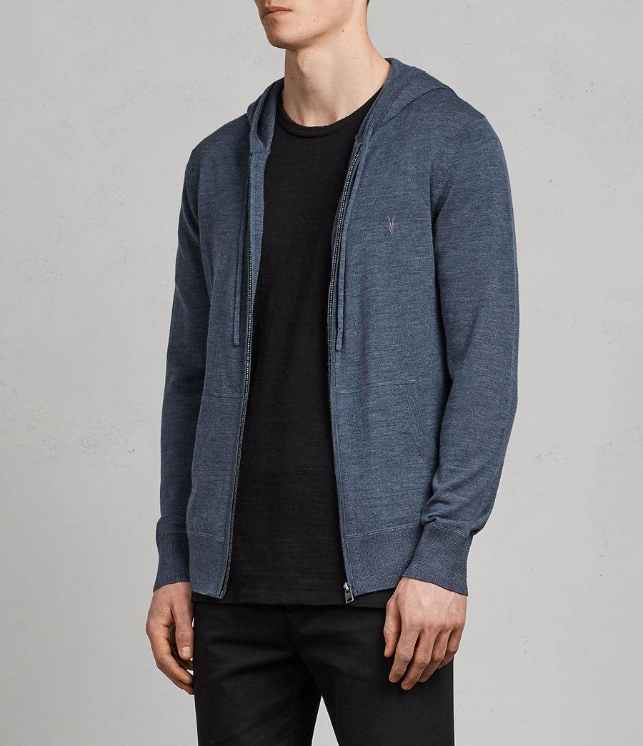 Mens Mode Merino Zip Hoodie (washed_navy_marl) - Image 3
