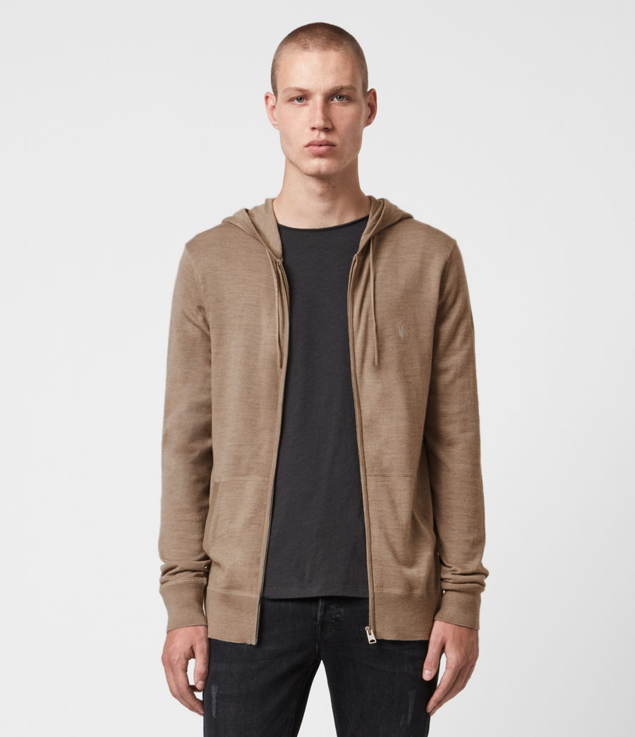 Mens Mode Merino Zip Hoodie (bay_green_marl) - Image 1