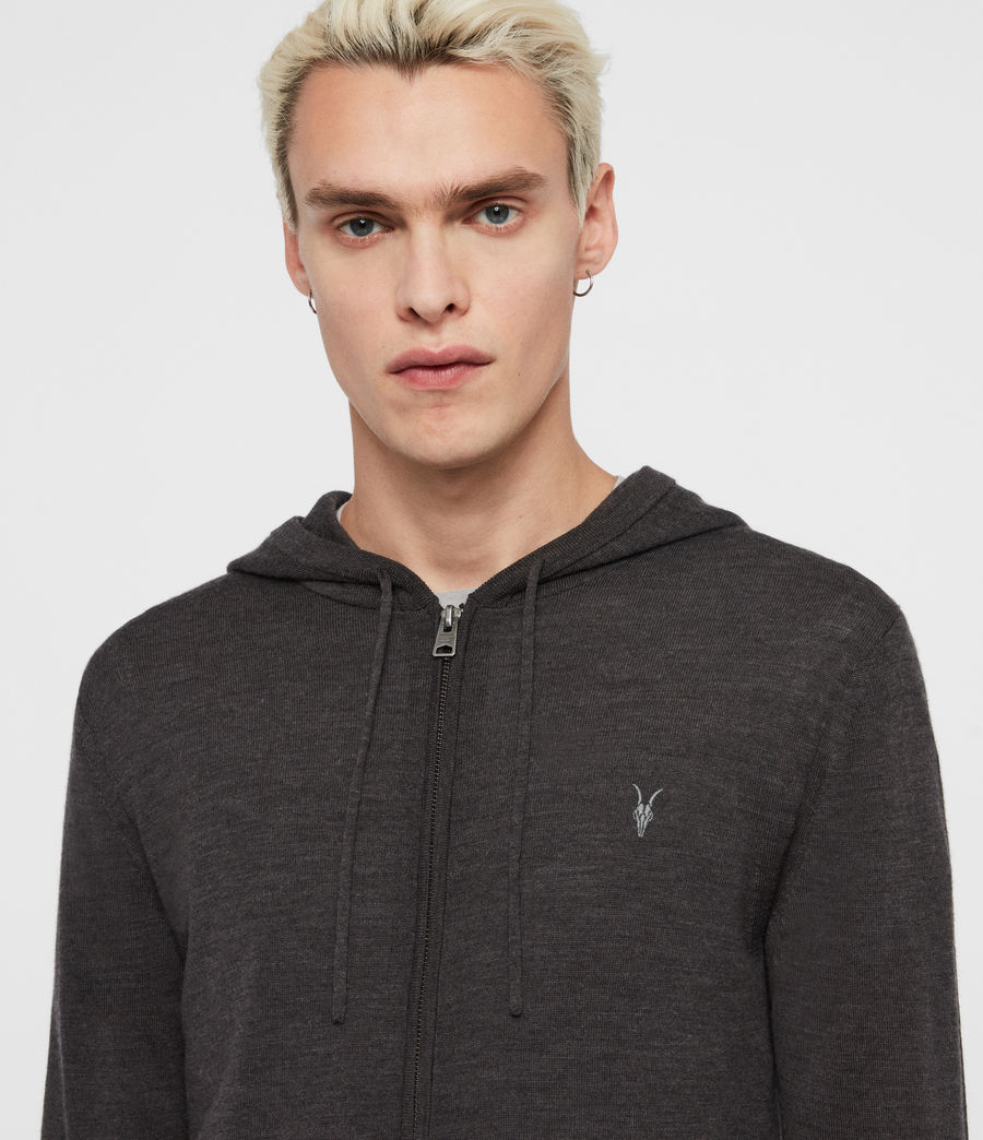 Mens Mode Merino Zip Hoodie (engine_grey_marl) - Image 2