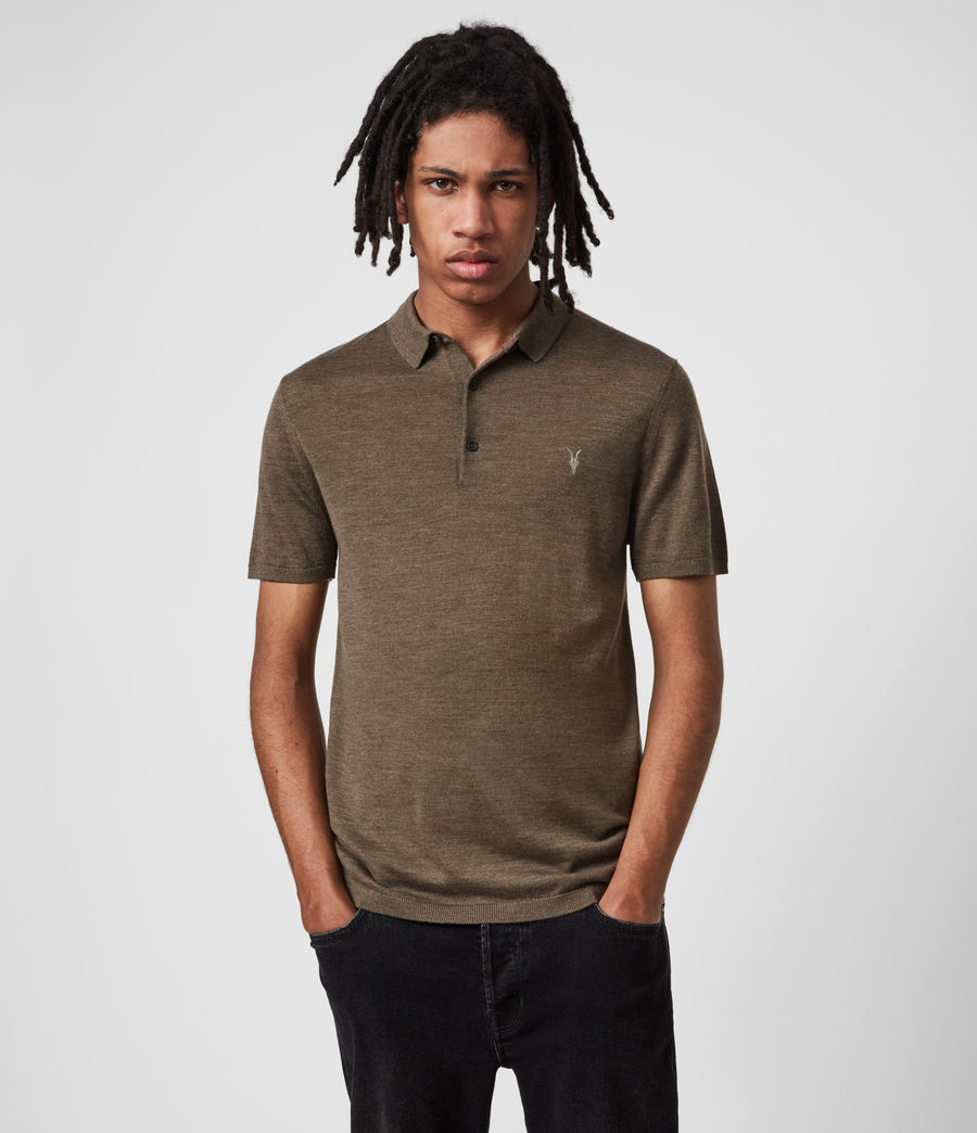 Men's Mode Merino Short Sleeve Polo Shirt (antique_khaki_marl) - Image 1