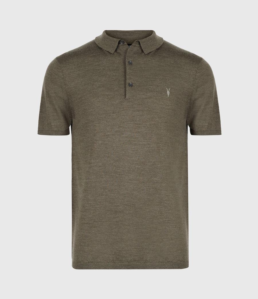 Men's Mode Merino Short Sleeve Polo Shirt (antique_khaki_marl) - Image 2