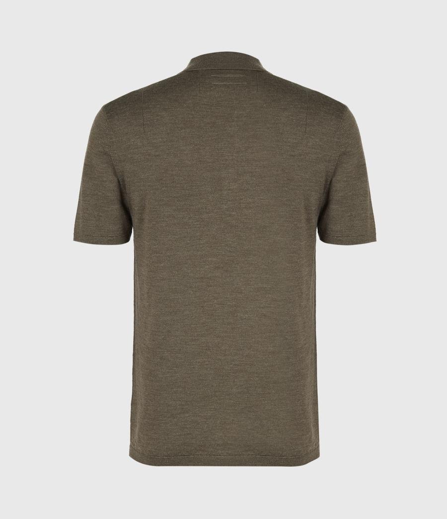 Men's Mode Merino Short Sleeve Polo Shirt (antique_khaki_marl) - Image 3