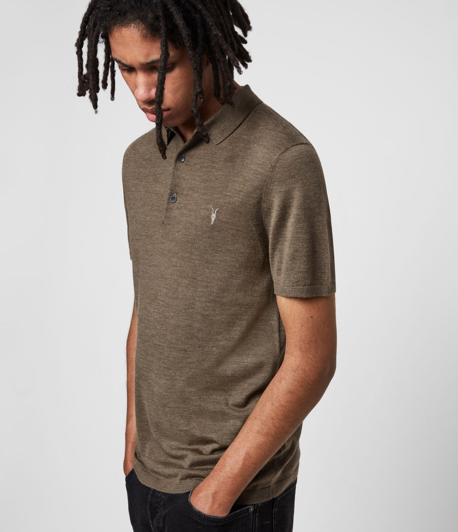Men's Mode Merino Short Sleeve Polo Shirt (antique_khaki_marl) - Image 4