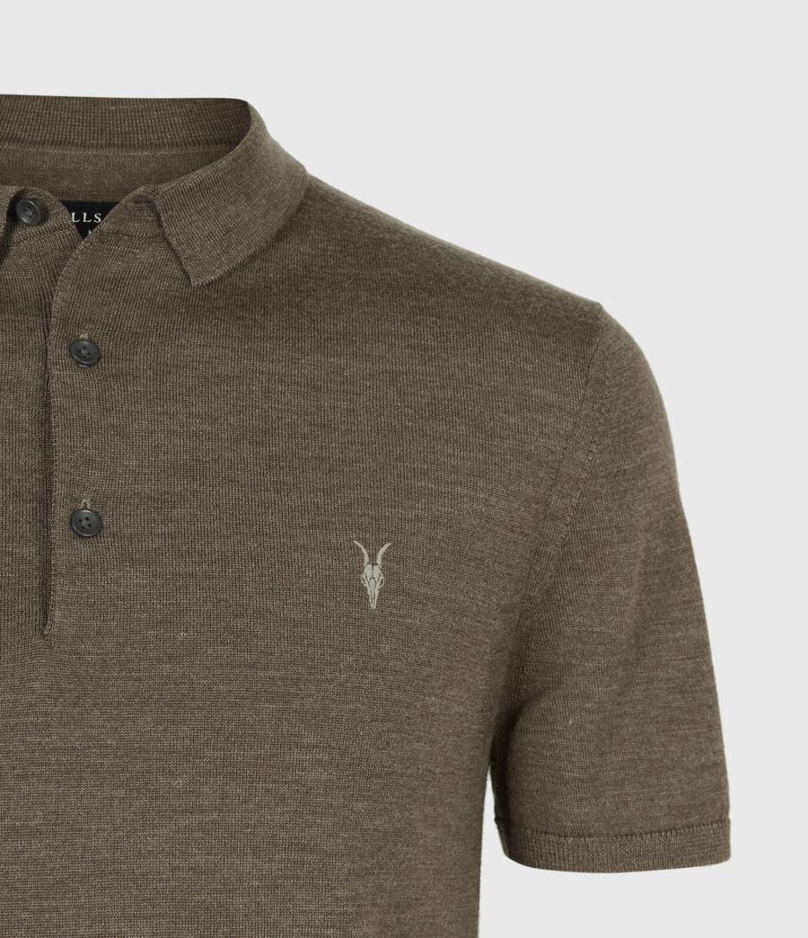 Men's Mode Merino Short Sleeve Polo Shirt (antique_khaki_marl) - Image 5