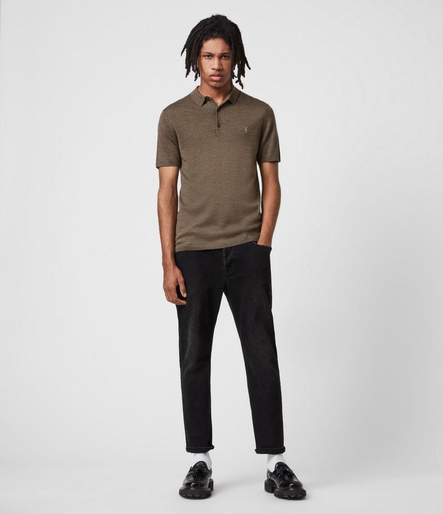 Men's Mode Merino Short Sleeve Polo Shirt (antique_khaki_marl) - Image 6