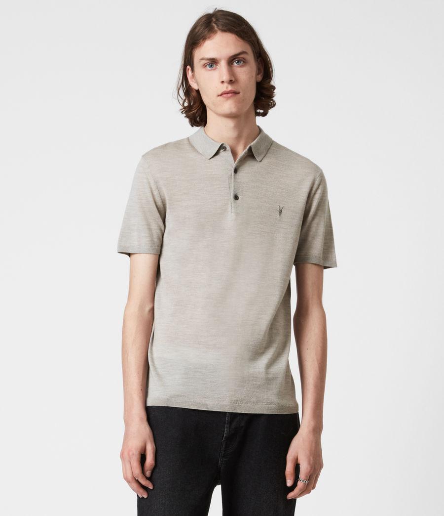 Herren Mode Merino Short Sleeve Polo Shirt (corazon_taupe_marl) - Image 1