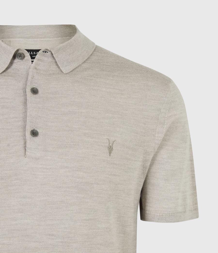 Herren Mode Merino Short Sleeve Polo Shirt (corazon_taupe_marl) - Image 5