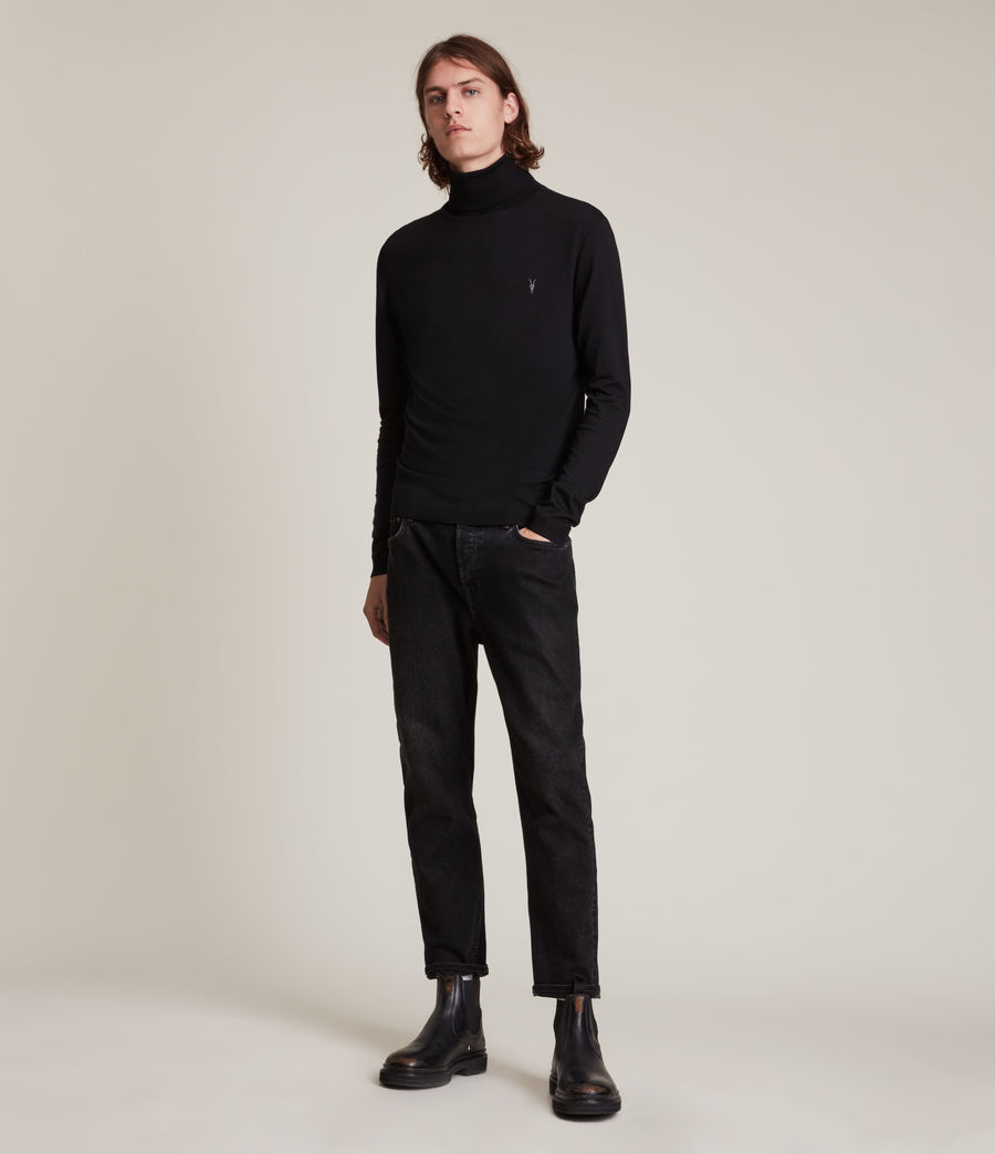 Men's Mode Merino Roll Neck Jumper (black) - Image 3