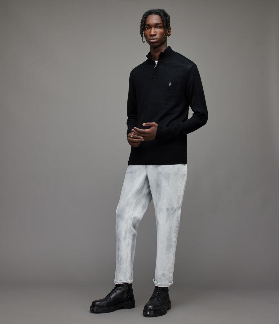 Herren Mode Merino Zip Funnel Jumper (black) - Image 3