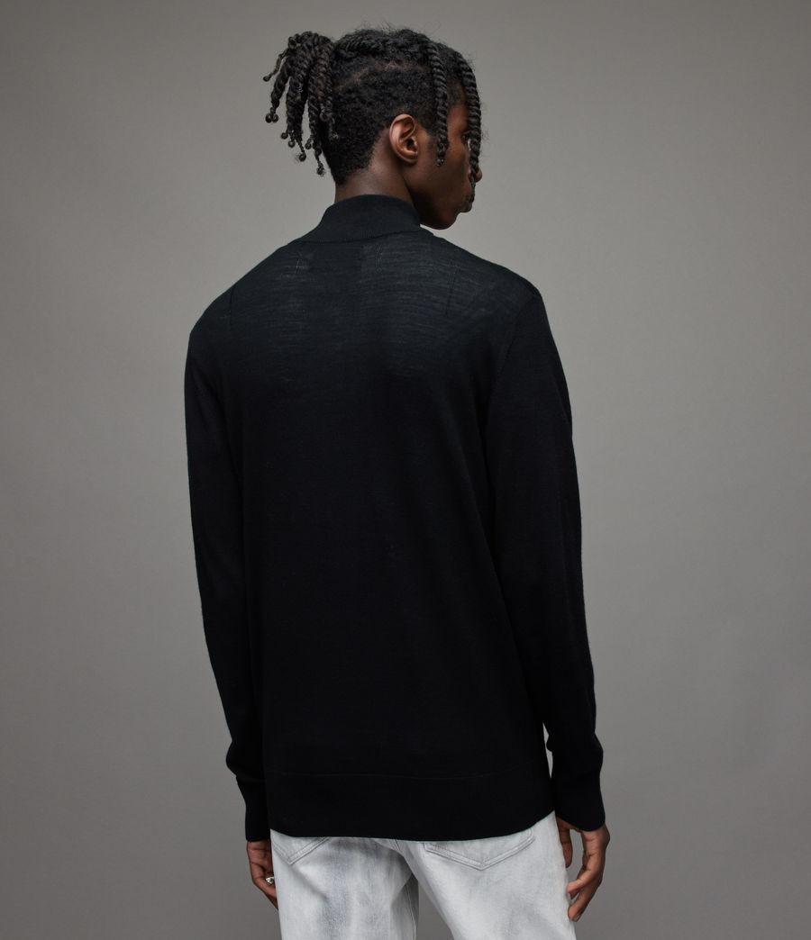 Herren Mode Merino Zip Funnel Jumper (black) - Image 4