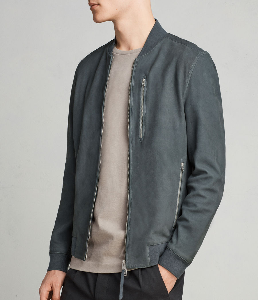 Mens Konrad Leather Bomber Jacket (petrol_blue) - Image 1