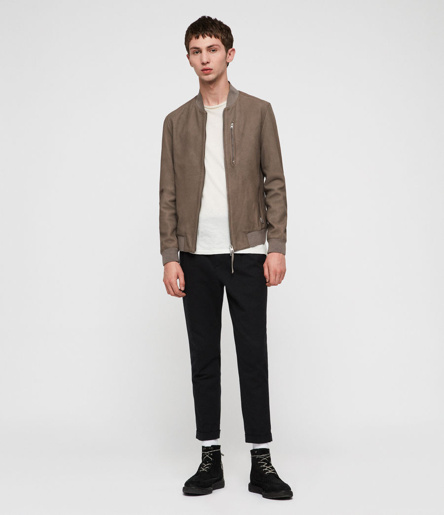 Men's Konrad Leather Bomber Jacket (light_khaki_green) - Image 1
