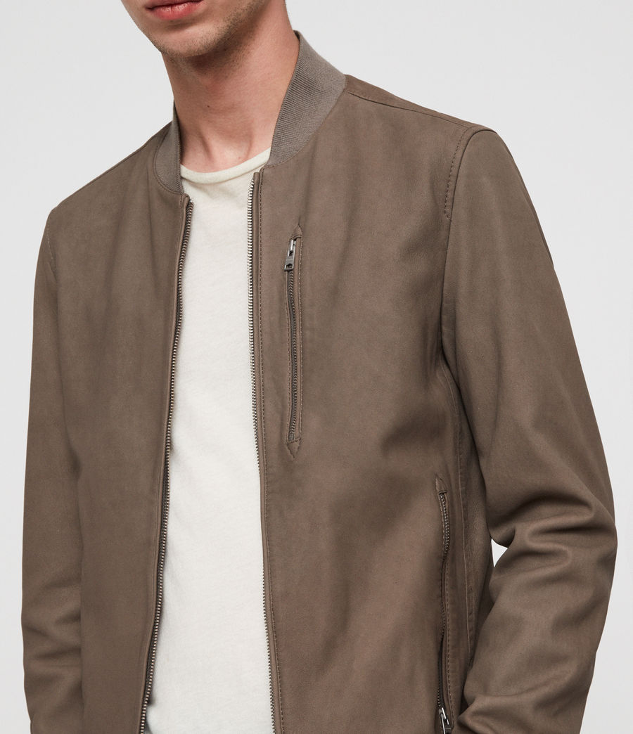 Men's Konrad Leather Bomber Jacket (light_khaki_green) - Image 2