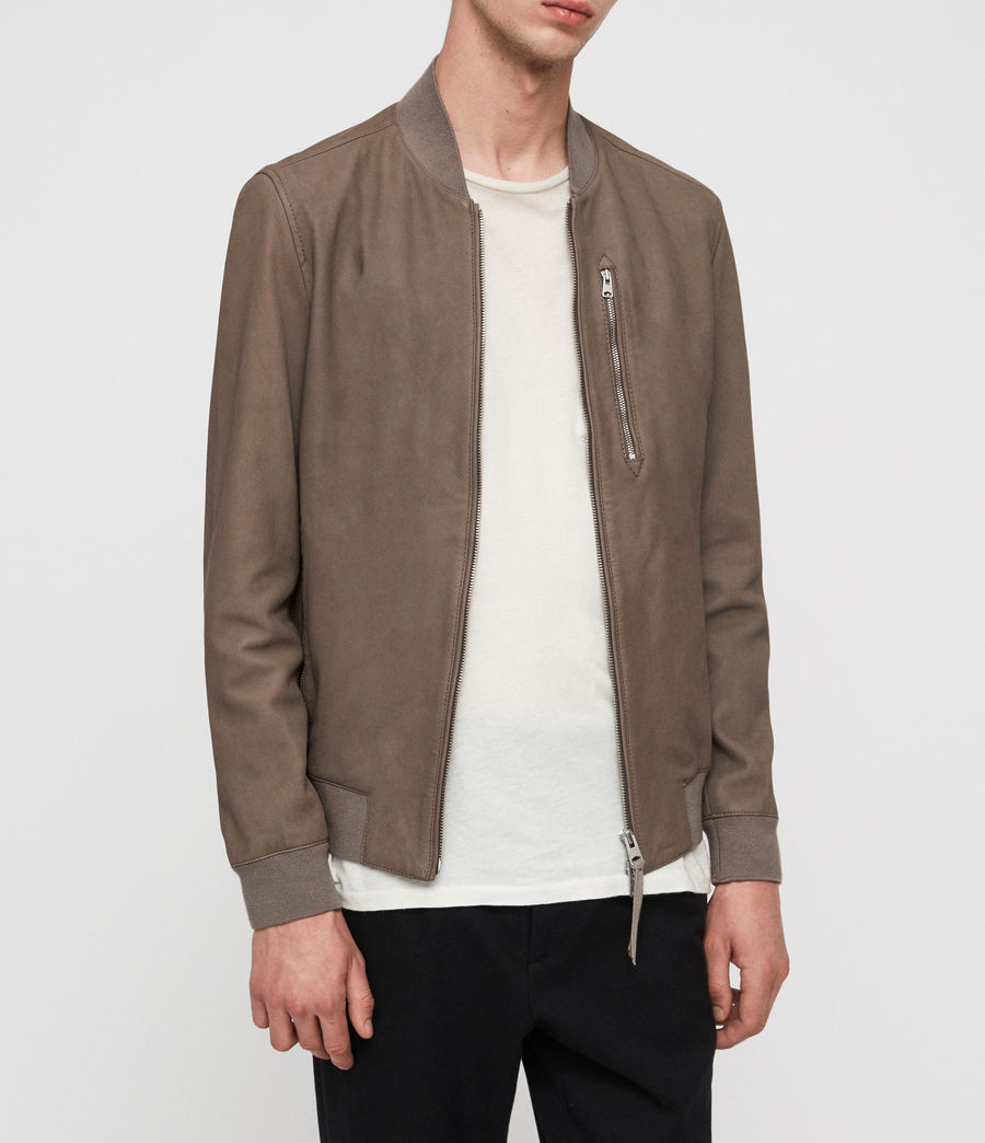Men's Konrad Leather Bomber Jacket (light_khaki_green) - Image 3
