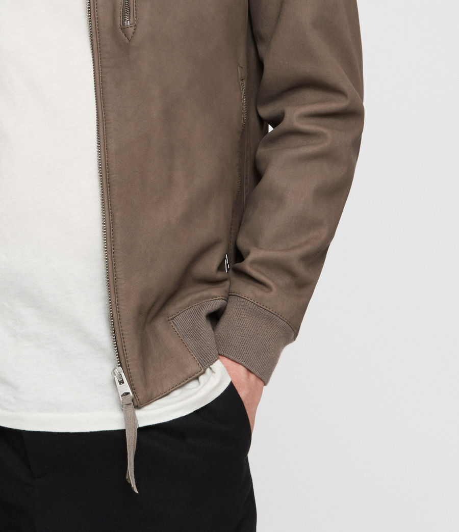 Men's Konrad Leather Bomber Jacket (light_khaki_green) - Image 4
