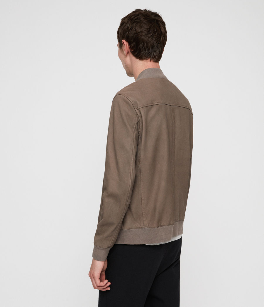 Men's Konrad Leather Bomber Jacket (light_khaki_green) - Image 5