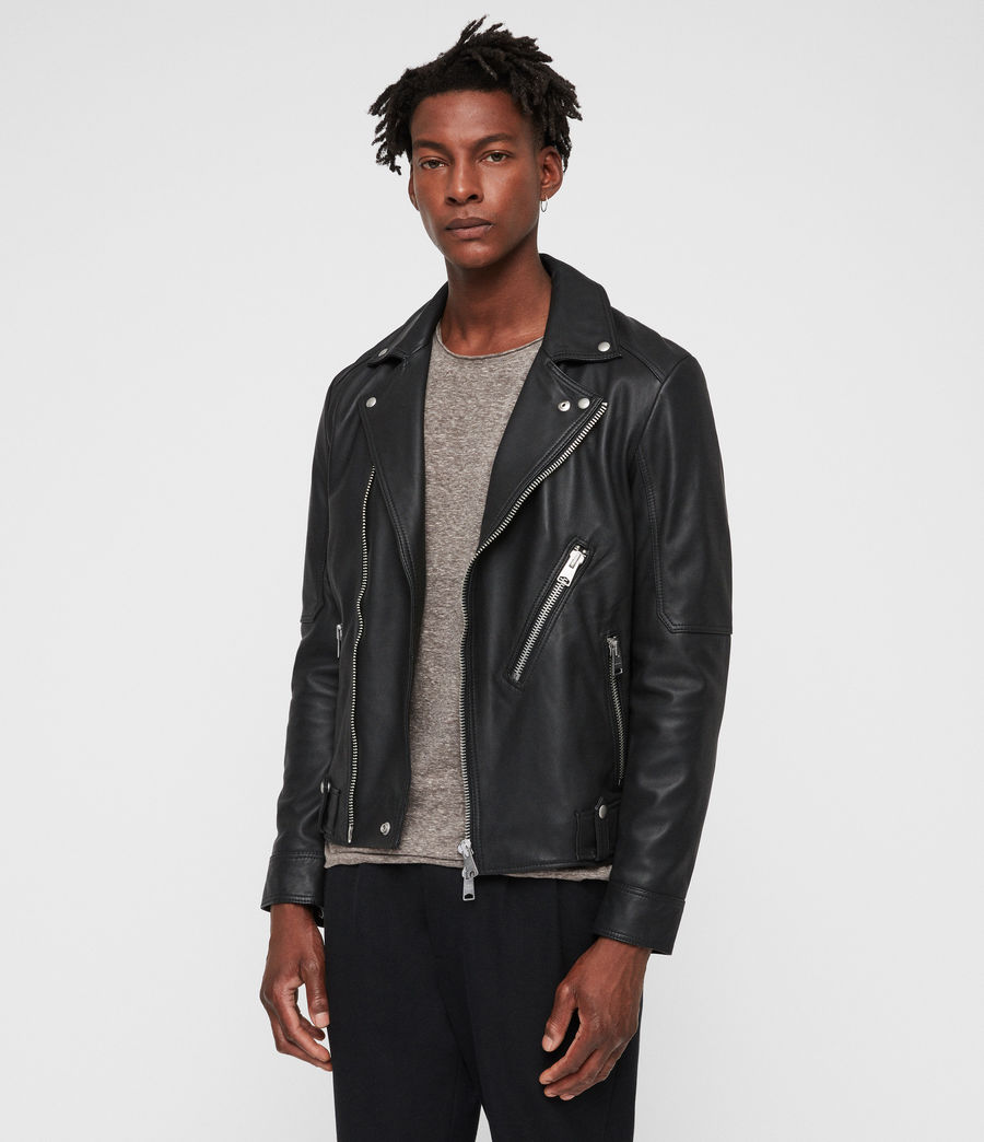 Mens Naoki Leather Biker Jacket (washed_black) - Image 1