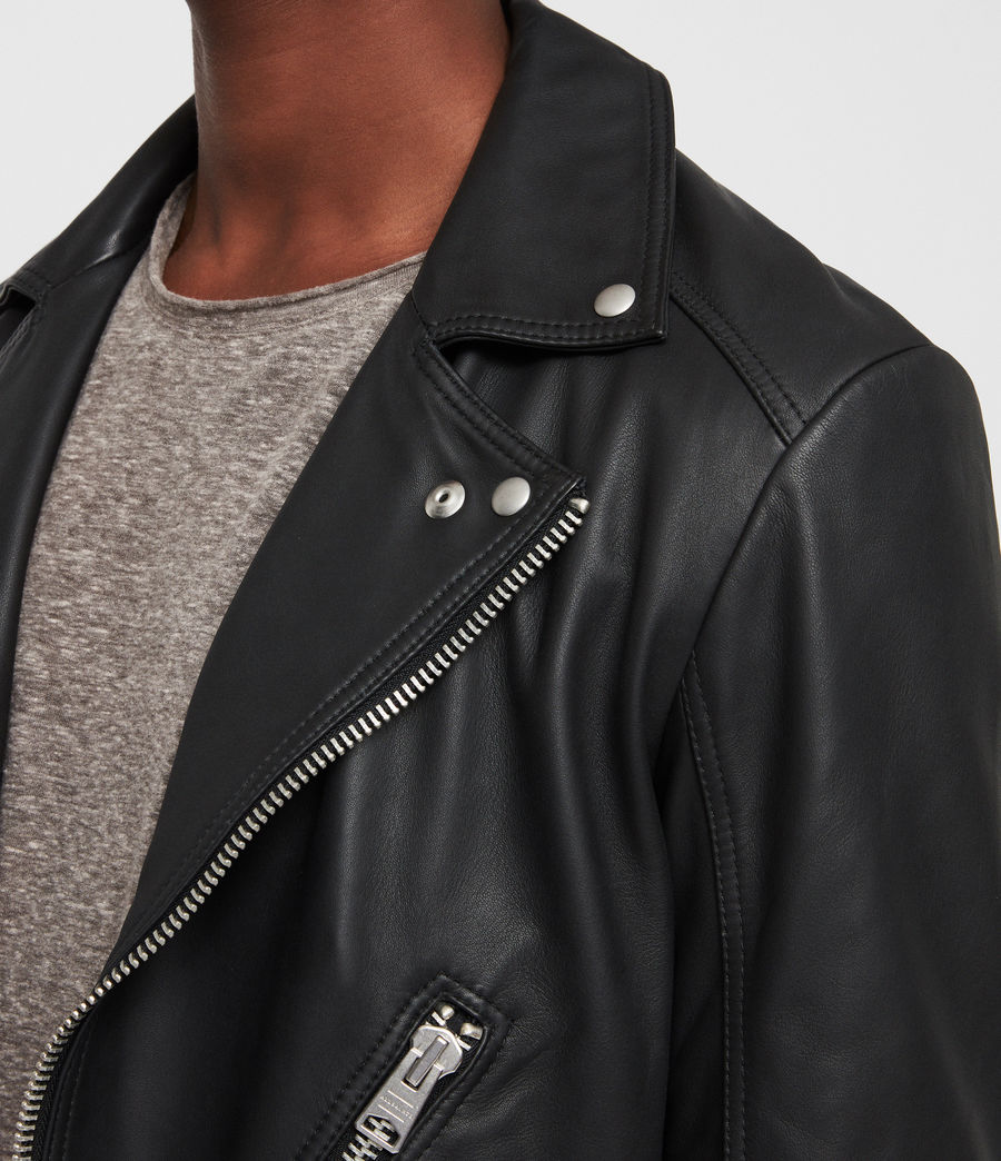 Mens Naoki Leather Biker Jacket (washed_black) - Image 2
