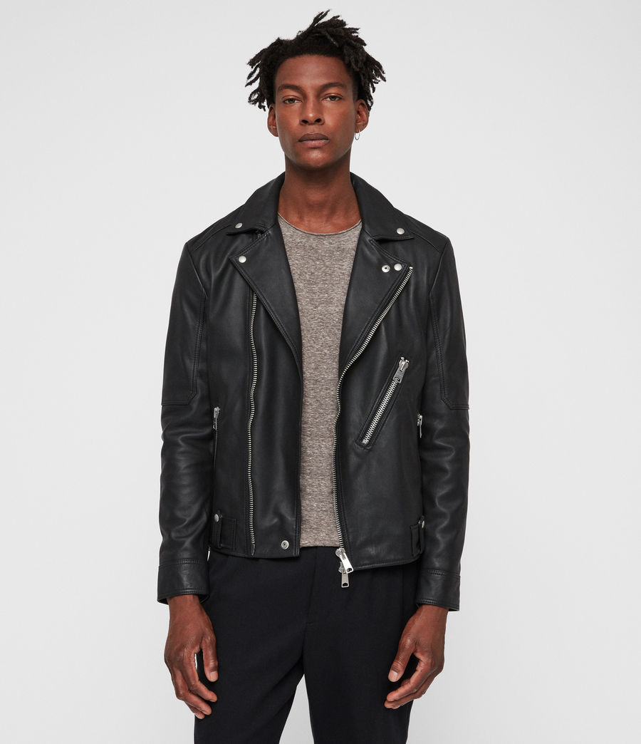 Mens Naoki Leather Biker Jacket (washed_black) - Image 4