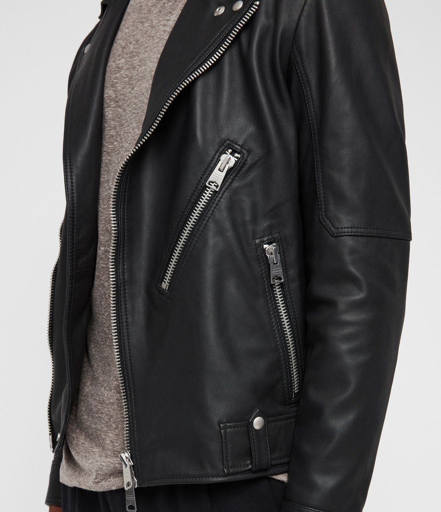 Mens Naoki Leather Biker Jacket (washed_black) - Image 5