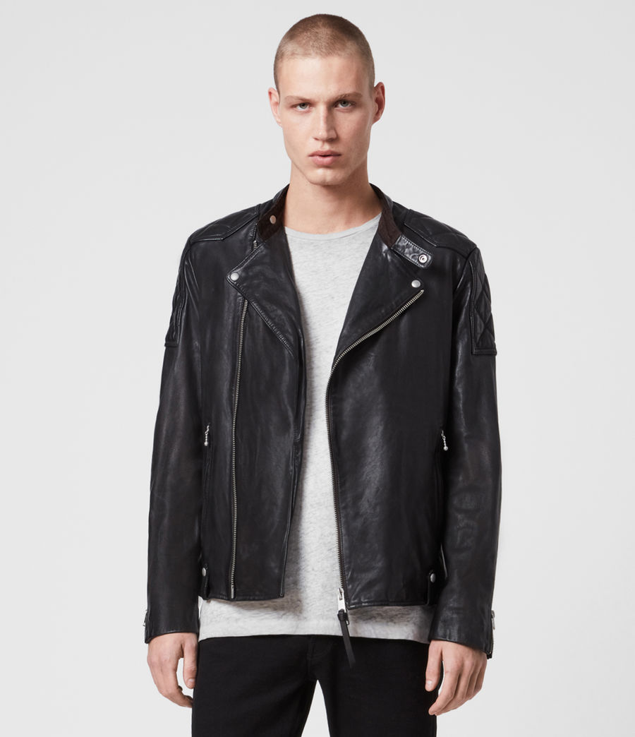 Mens Marley Leather Biker Jacket (black) - Image 1