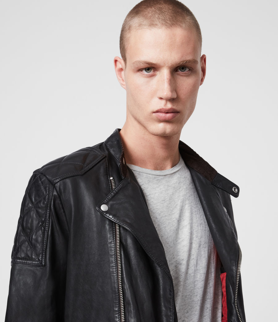 Mens Marley Leather Biker Jacket (black) - Image 2