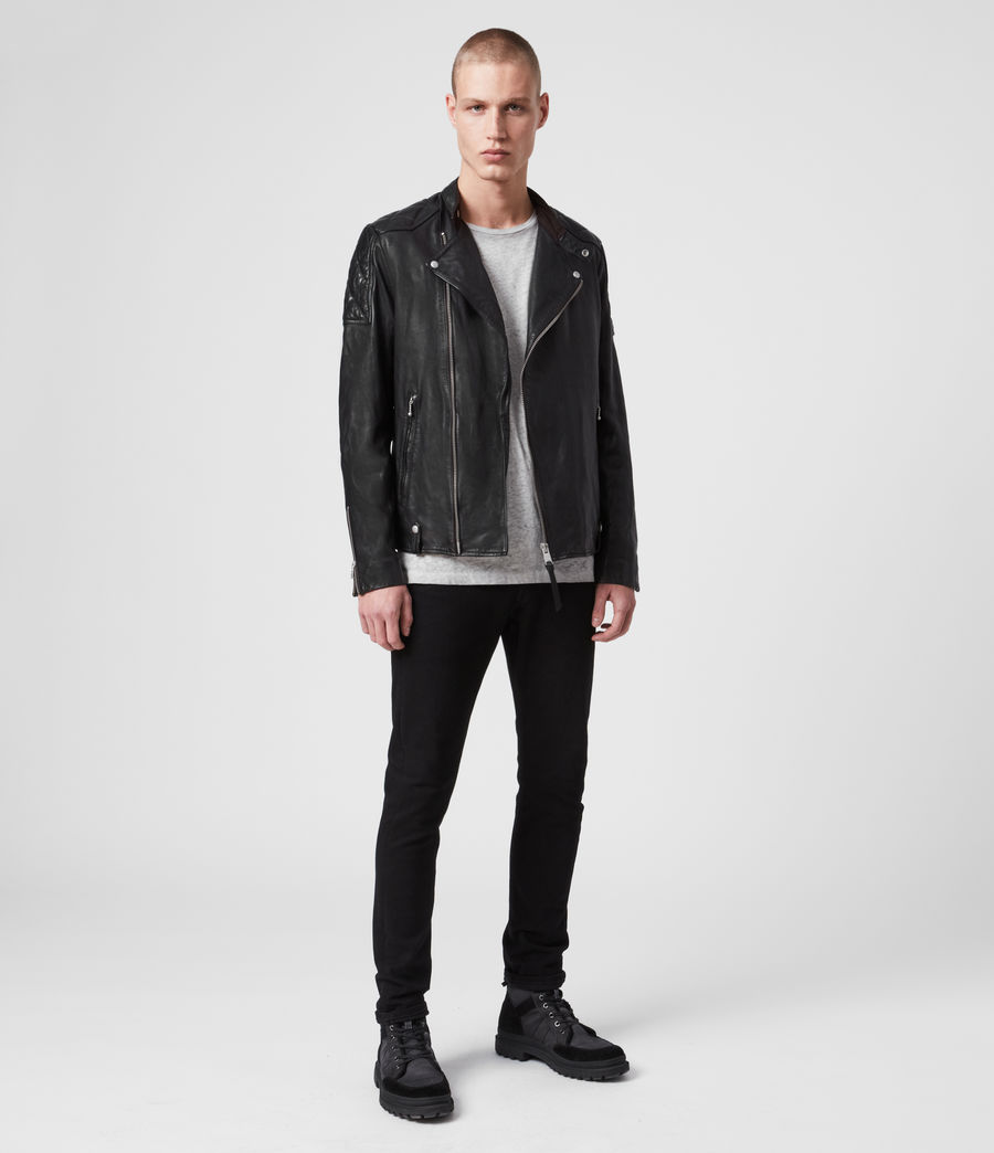 Men's Marley Leather Biker Jacket (black) - Image 3