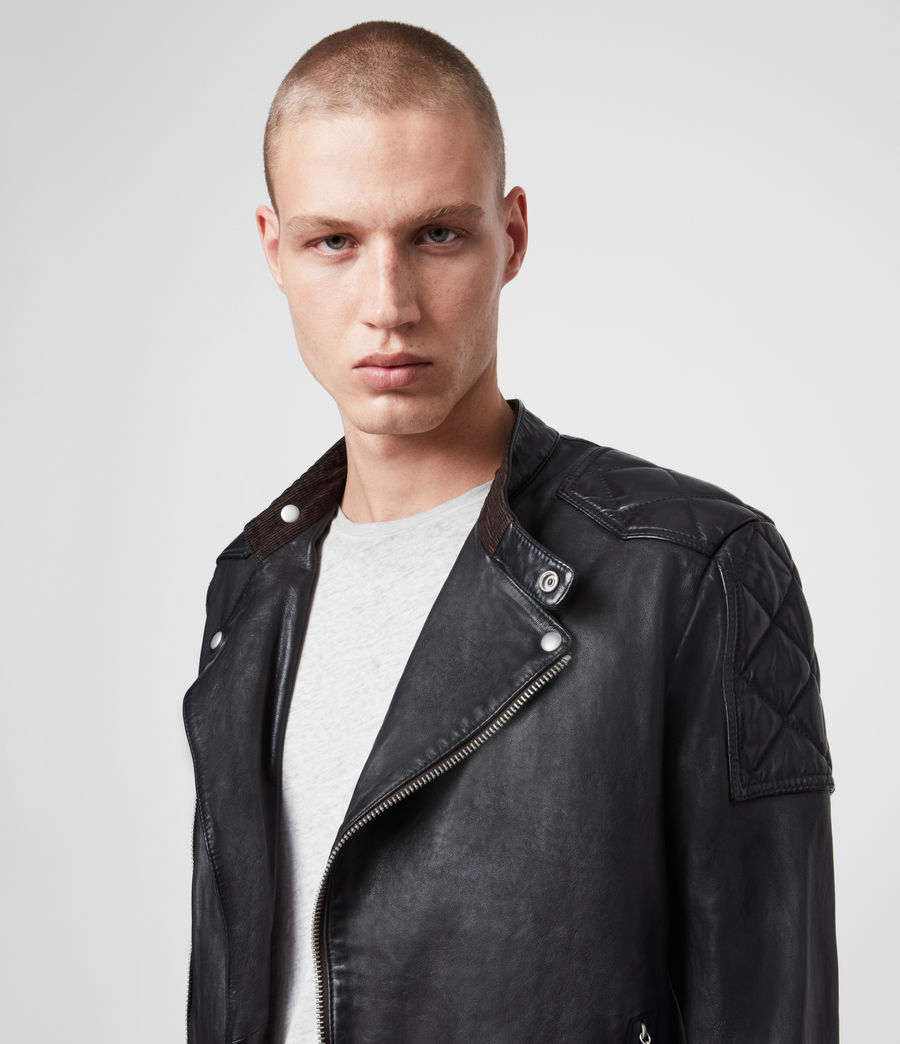 Men's Marley Leather Biker Jacket (black) - Image 4