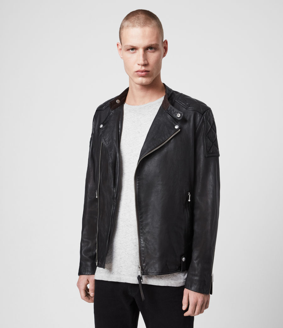 Men's Marley Leather Biker Jacket (black) - Image 5