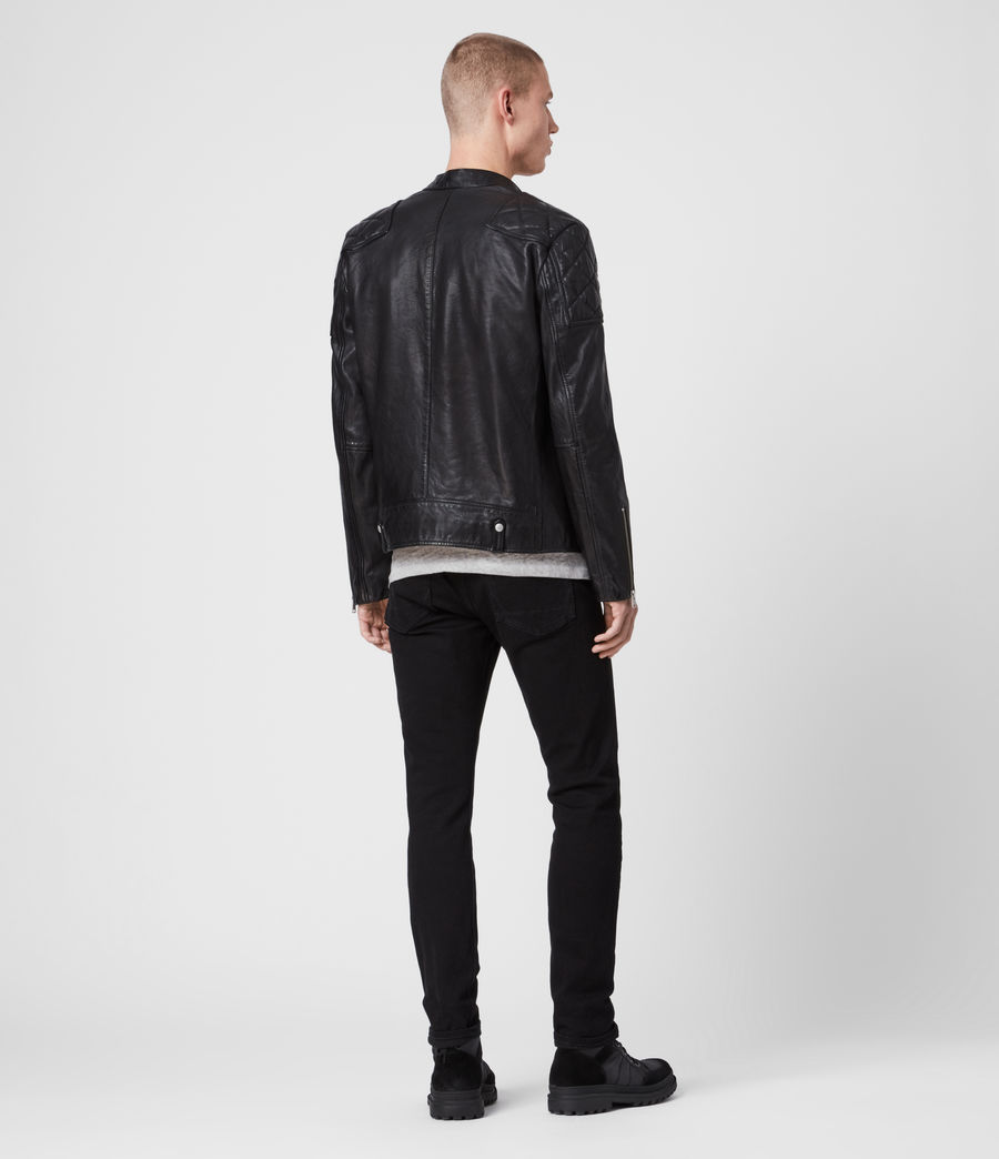 Men's Marley Leather Biker Jacket (black) - Image 6