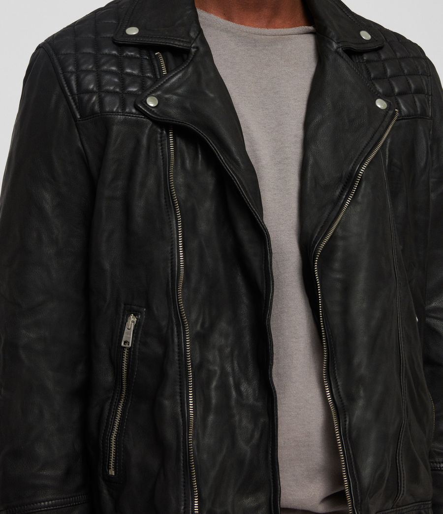 Mens Taro Leather Biker Jacket (black) - Image 4