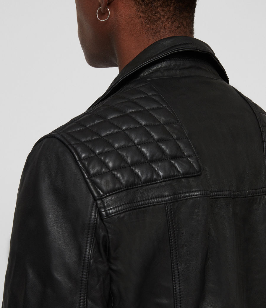 Men's Taro Leather Biker Jacket (black) - Image 5
