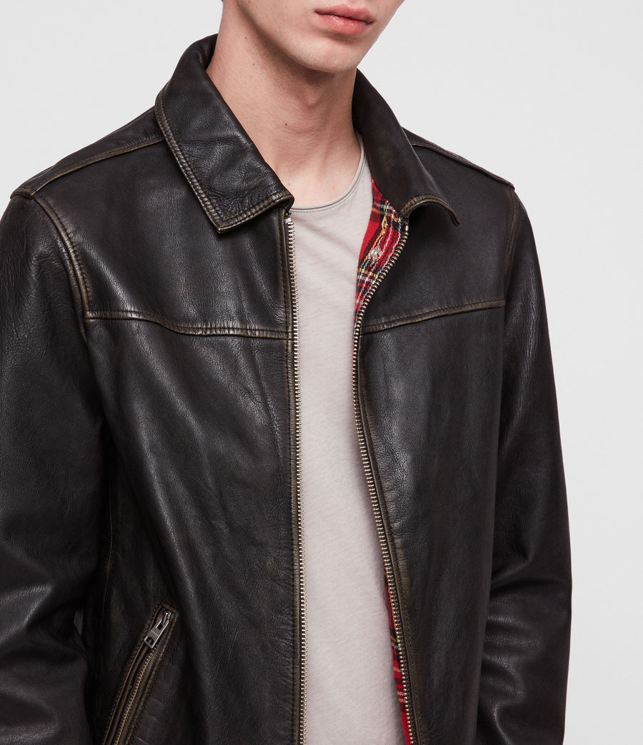 Mens Caleb Leather Jacket (black_coal) - Image 2